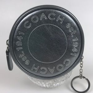 Coach Metallic / Silver Keychain Coin Purse 💜